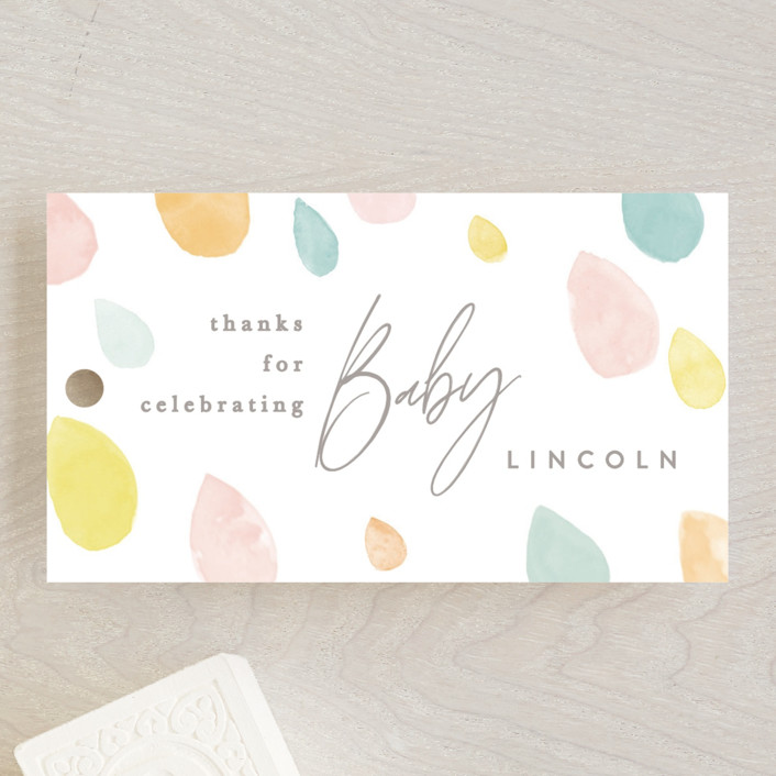 """""""Raindrops"""" - Baby Shower Favor Tags in Sunshine by Creo Study."""