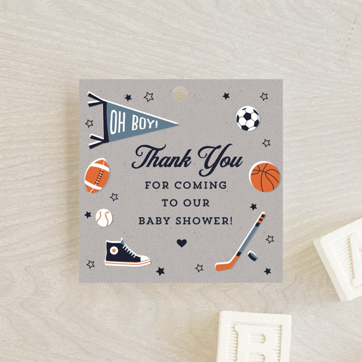 """""""Little Rookie"""" - Whimsical & Funny Baby Shower Favor Tags in Mist by Nam Bourassa."""