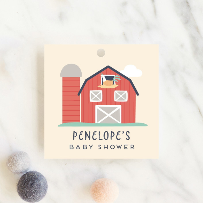 """""""barn baby"""" - Whimsical & Funny Baby Shower Favor Tags in Butter by peetie design."""