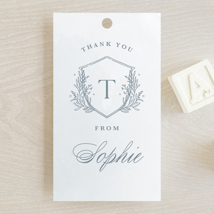 """""""Subtle Wash"""" - Baby Shower Favor Tags in Winter Lake by Kristen Smith."""