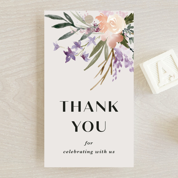 """""""Stacked Bouquets"""" - Baby Shower Favor Tags in Amethyst by Kate Ahn."""