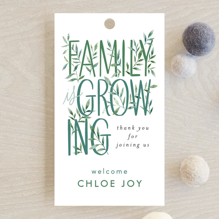 """""""Growing Family"""" - Baby Shower Favor Tags in Forest by Alethea and Ruth."""
