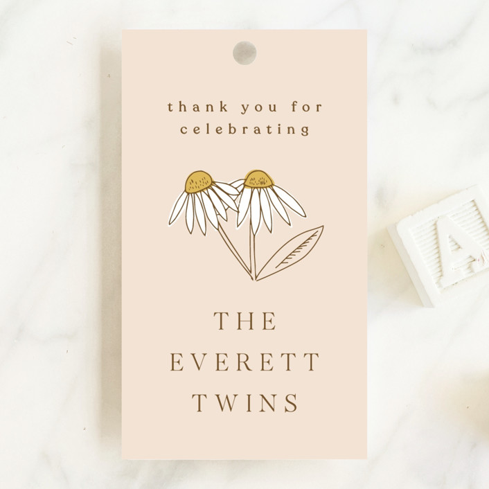 """""""Twin Daisy"""" - Baby Shower Favor Tags in Peach by Corinne Malesic."""