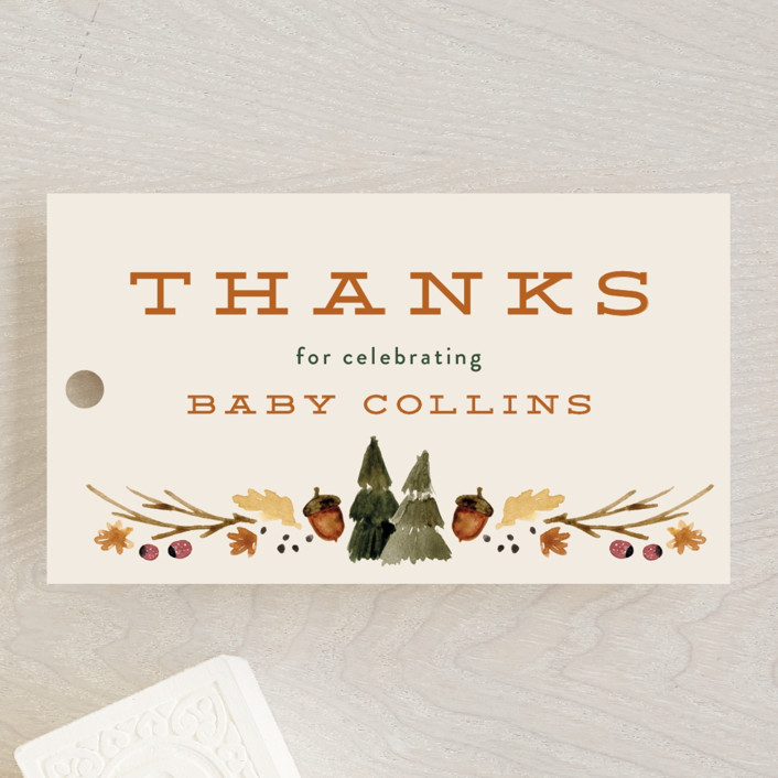 """""""woodland watercolor"""" - Whimsical & Funny Baby Shower Favor Tags in Butternut by Kate Ahn."""