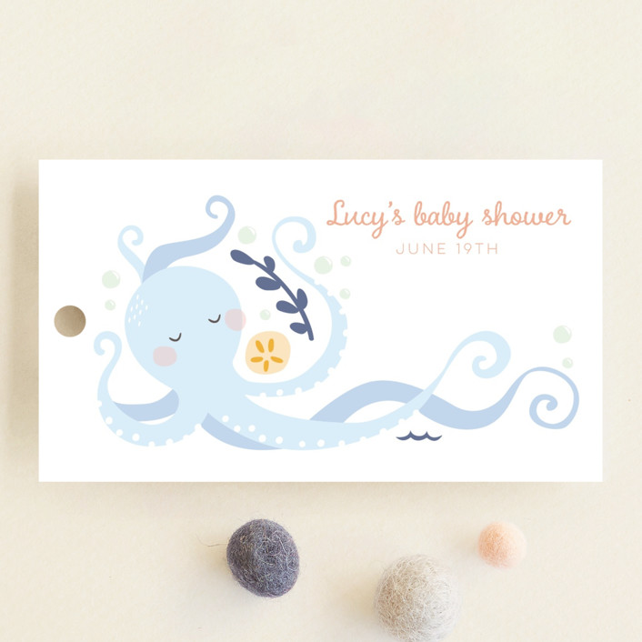 """""""little treasure"""" - Whimsical & Funny Baby Shower Favor Tags in Aqua by peetie design."""