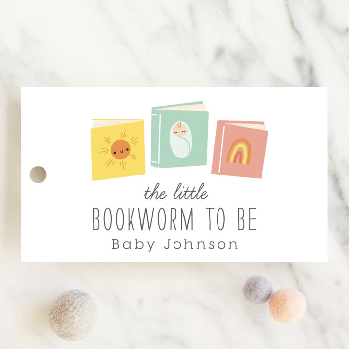 """""""Little Bookworm"""" - Whimsical & Funny Baby Shower Favor Tags in Tropical by Itsy Belle Studio."""