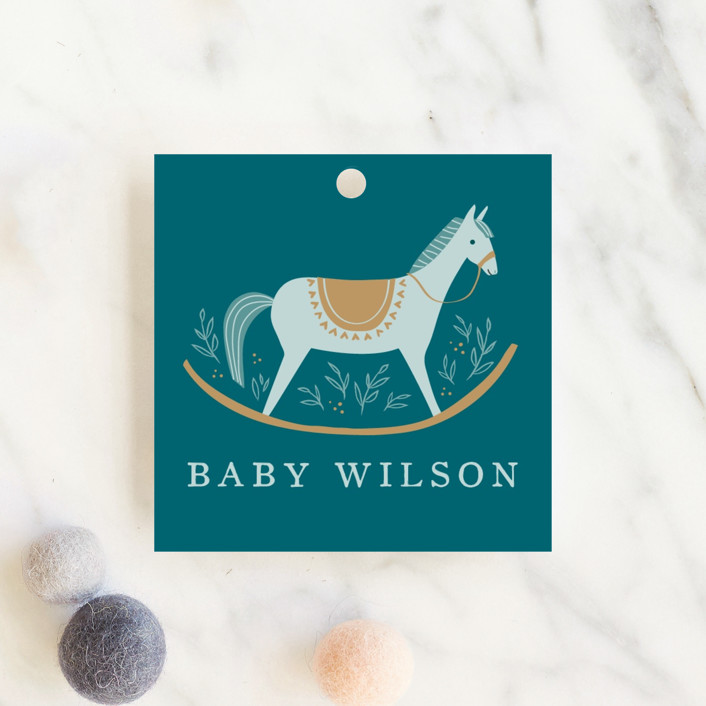"""""""Rocking Horse"""" - Whimsical & Funny Baby Shower Favor Tags in Lake by Karidy Walker."""