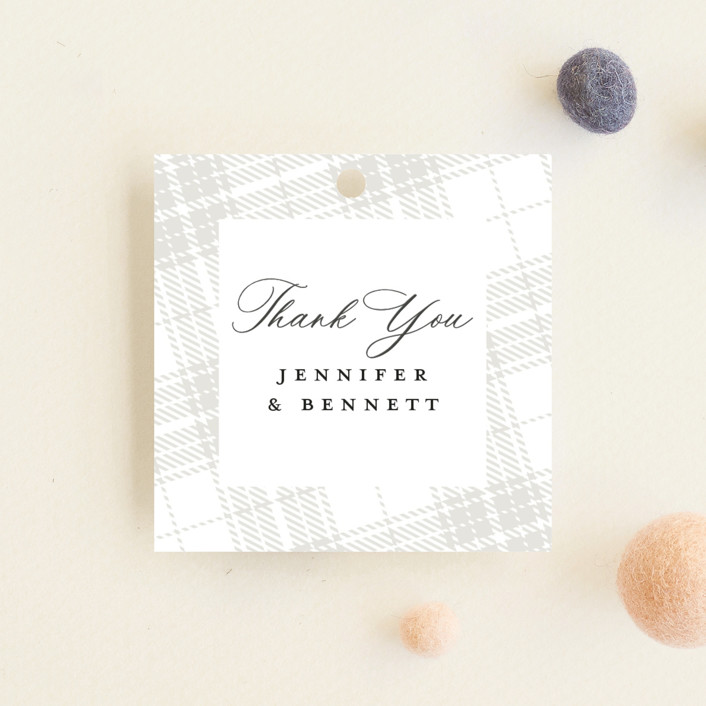 """""""Plaid"""" - Whimsical & Funny Baby Shower Favor Tags in Milk by Erin Deegan."""