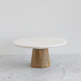 This is a white dessert table accessory by Minted called Small Marble and Mango Wood.