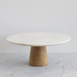This is a white dessert table accessory by Minted called Large Marble and Mango Wood.