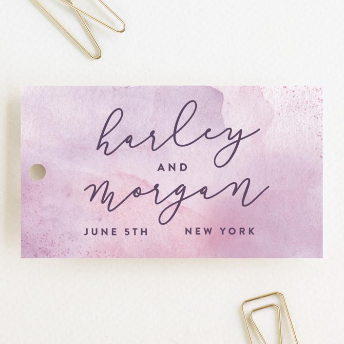 """Amethyst Watercolor"" - Wedding Favor Tags in Amethyst by Hooray Creative."