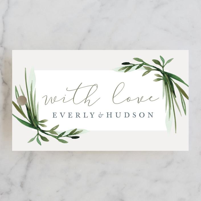 """Botanical Frame"" - Wedding Favor Tags in Fern by Kate Ahn."