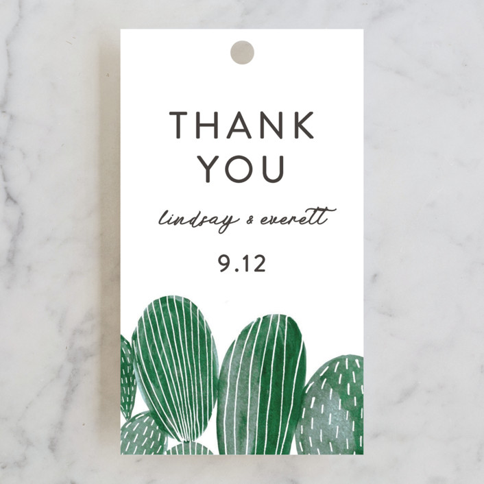 """""""Painted Cacti"""" - Wedding Favor Tags in Cactus by Olivia Raufman."""