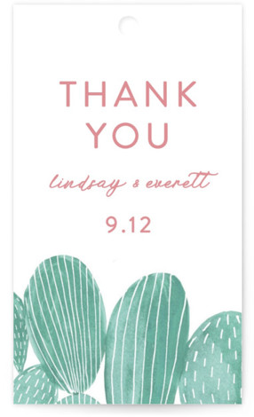 This is a green, pink Wedding Favor Tags by Olivia Raufman called Painted Cacti with Standard printing on Signature in Tag Flat Card format. Add the perfect finishing touch to all of your wedding gifts with these chic and customizable ...