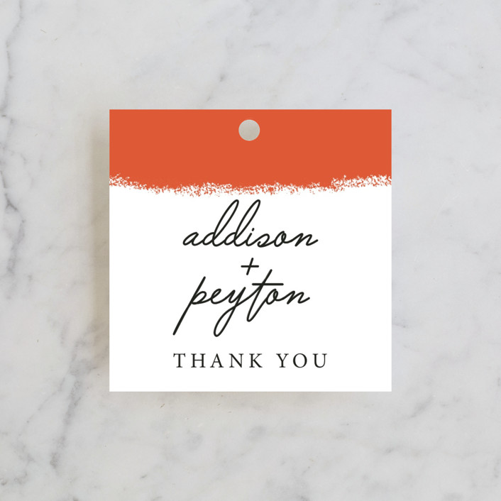 """Joyfully Ever After"" - Modern Wedding Favor Tags in Tangerine by Faiths Designs."