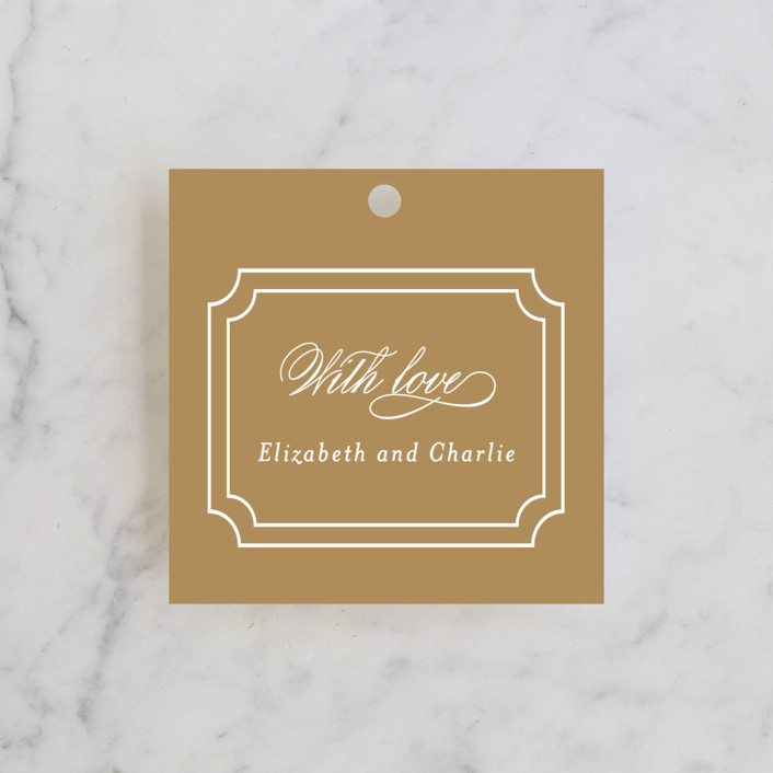 """""""Classy Type"""" - Formal, Elegant Wedding Favor Tags in Golden by Kimberly FitzSimons."""