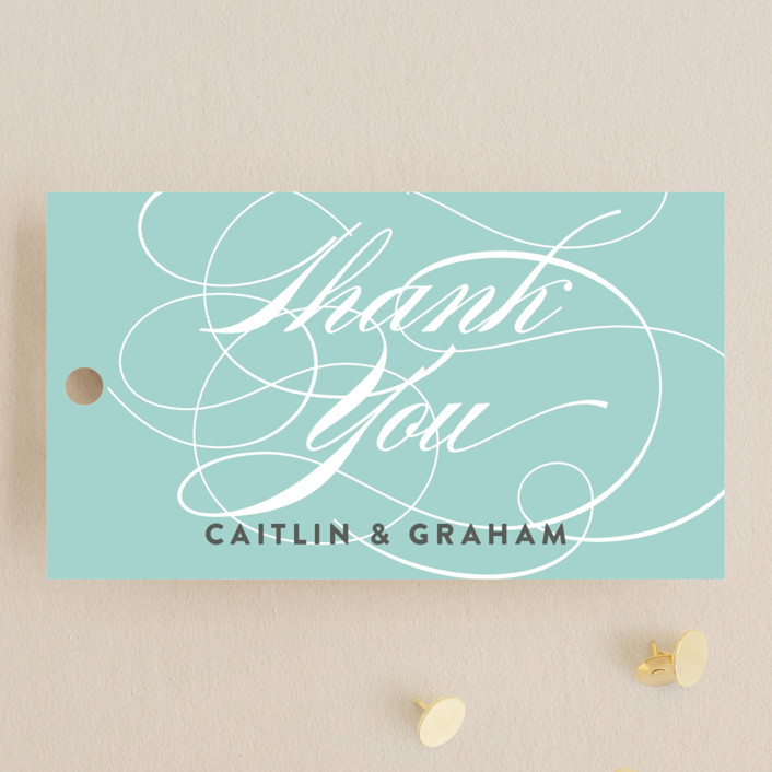 """Cordial Flourish"" - Bold typographic Wedding Favor Tags in Arctic by Olivia Raufman."