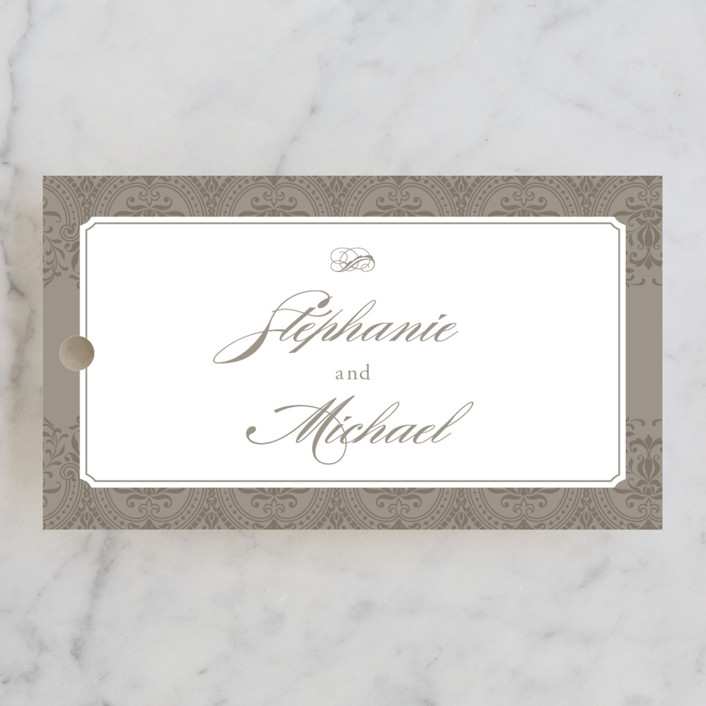 """Formalities"" - Classical Wedding Favor Tags in Warm Grey by Milkmaid Press."