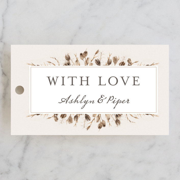 """Gone To Seed"" - Bohemian Wedding Favor Tags in Taupe by Honeybunch Studio."