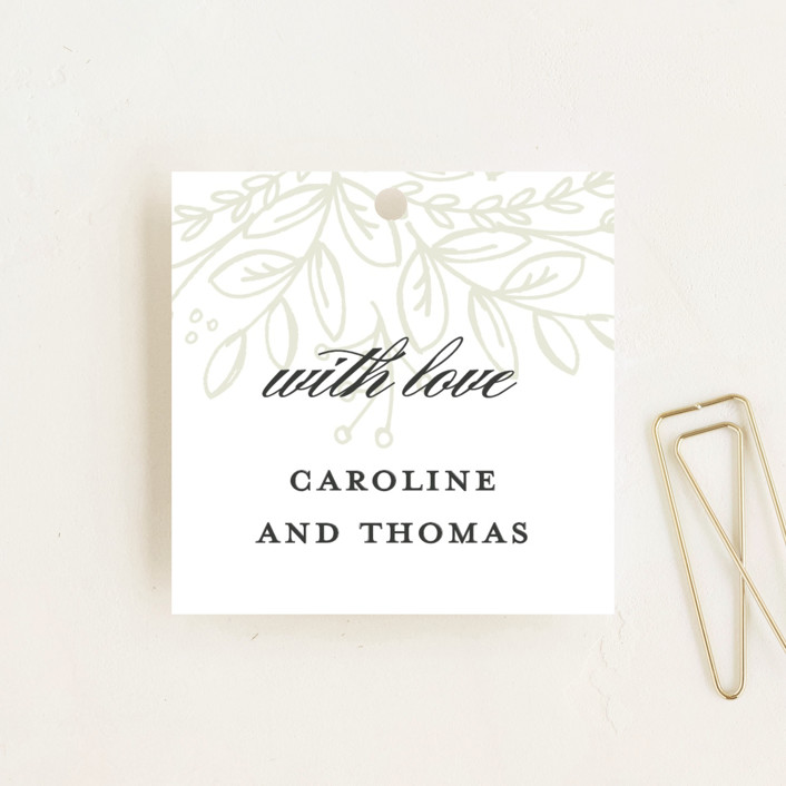 """Graceful"" - Floral & Botanical, Elegant Wedding Favor Tags in Taupe by Jessica Williams."