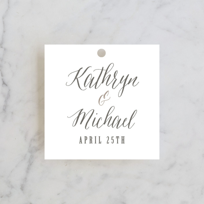 """Kindly Request"" - Bold typographic Wedding Favor Tags in Charcoal by Lori Wemple."