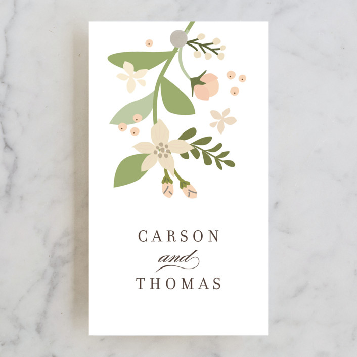 """Longwood Estates"" - Floral & Botanical, Elegant Wedding Favor Tags in Peach Sorbet by Jennifer Wick."
