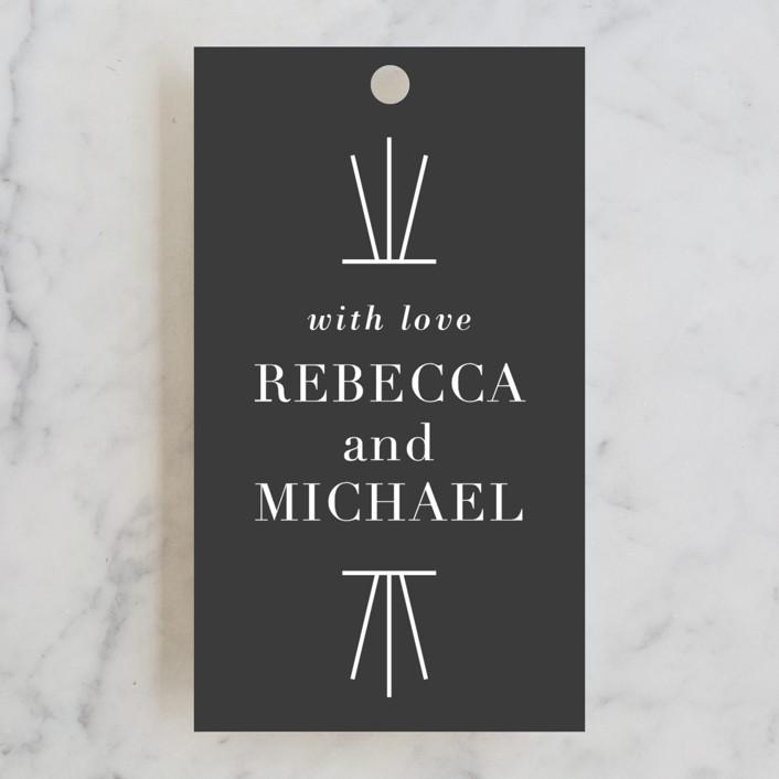 """Mingle"" - Bold typographic Wedding Favor Tags in Charcoal by Lauren Chism."