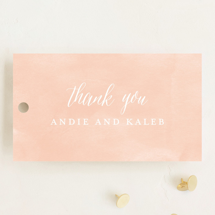 """Monogram Floral"" - Monogrammed, Floral & Botanical Wedding Favor Tags in Peach by Lori Wemple."