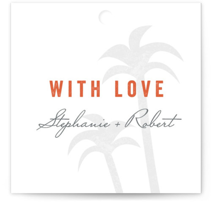 This is a square beach, destination, orange Wedding Favor Tags by Sarah Curry called Passport with Standard printing on Signature in Tag Flat Card format. Add the perfect finishing touch to all of your wedding gifts with these chic and ...
