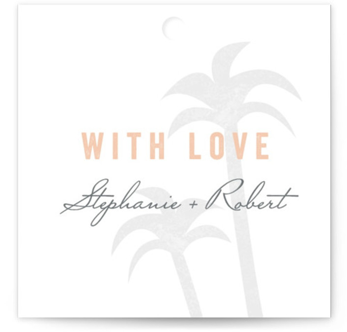 This is a square beach, destination, pink Wedding Favor Tags by Sarah Curry called Passport with Standard printing on Signature in Tag Flat Card format. Add the perfect finishing touch to all of your wedding gifts with these chic and ...