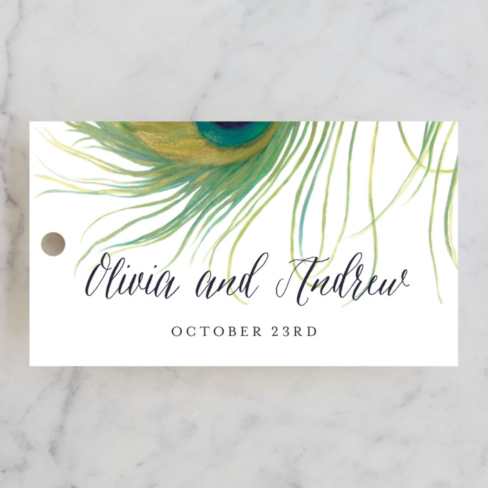 """Peacock"" - Elegant, Classical Wedding Favor Tags in Jade by LChantel."