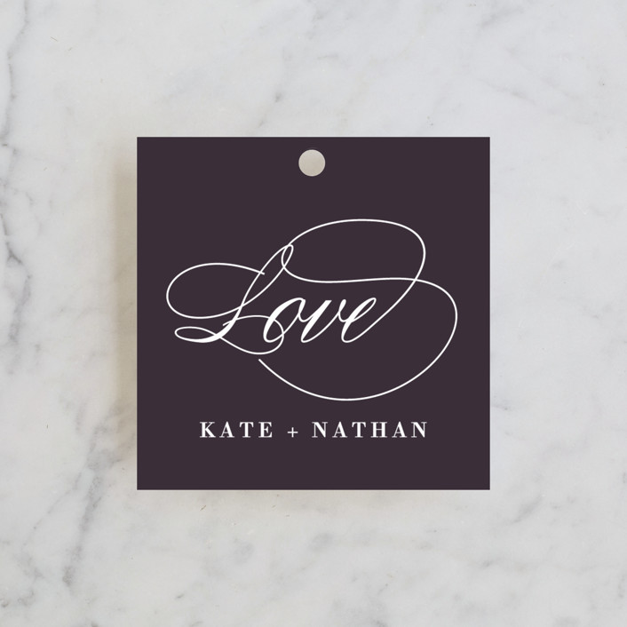 """""""Promise"""" - Elegant, Formal Wedding Favor Tags in Midnight by Susan Brown."""