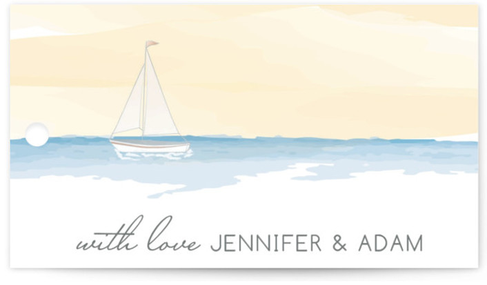 This is a landscape beach, destination, yellow, blue Wedding Favor Tags by Sarah Brown called Set Sail with Standard printing on Signature in Tag Flat Card format. Add the perfect finishing touch to all of your wedding gifts with these ...