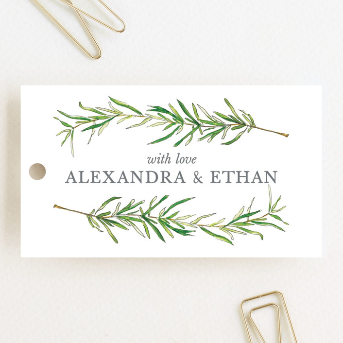 """Simple Sprigs"" - Wedding Favor Tags in Golden by Erin Deegan."