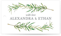 This is a green wedding favor tag by Erin Deegan called Simple Sprigs with standard printing on signature in tag.