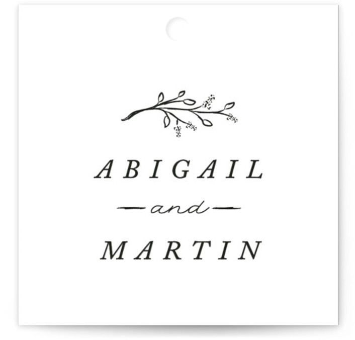 This is a square simple, black and white Wedding Favor Tags by Stacey Meacham called Storybook Romance with Standard printing on Signature in Tag Flat Card format. Add the perfect finishing touch to all of your wedding gifts with these ...