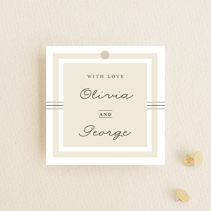 """""""Three Classic Lines"""" - Formal, Classical Wedding Favor Tags in Barley by fatfatin."""