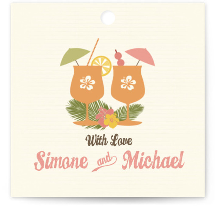 This is a square beach, destination, ethnic/cultural, whimsical, orange, pink Wedding Favor Tags by BeachPaperCo called Tiki Luau with Standard printing on Signature in Tag Flat Card format. Add the perfect finishing touch to all of your wedding gifts with ...