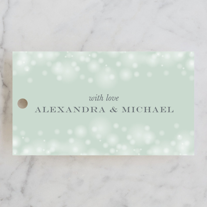 """Twinkling Lights"" - Elegant, Classical Wedding Favor Tags in Seagreen by Erin Deegan."