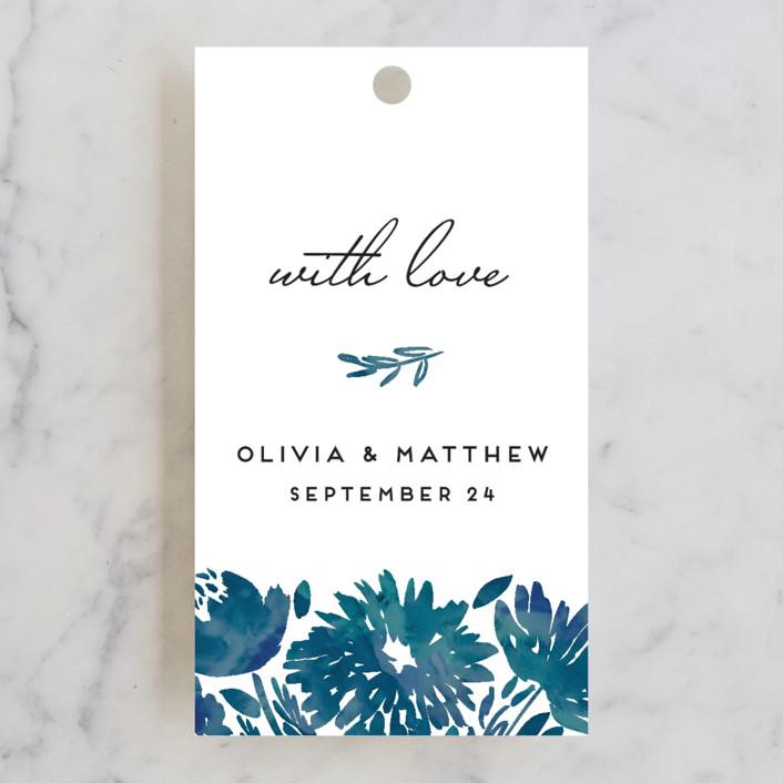 """Watercolor Delight"" - Floral & Botanical Wedding Favor Tags in Indigo by Petra Kern."
