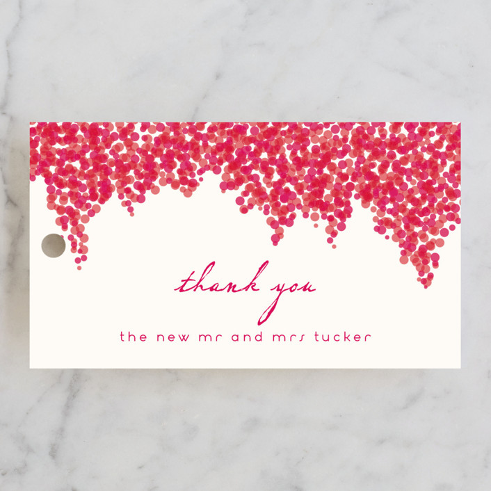 """Bougainvillea"" - Floral & Botanical Wedding Favor Tags in Bright Fuchsia by Laura Hankins."
