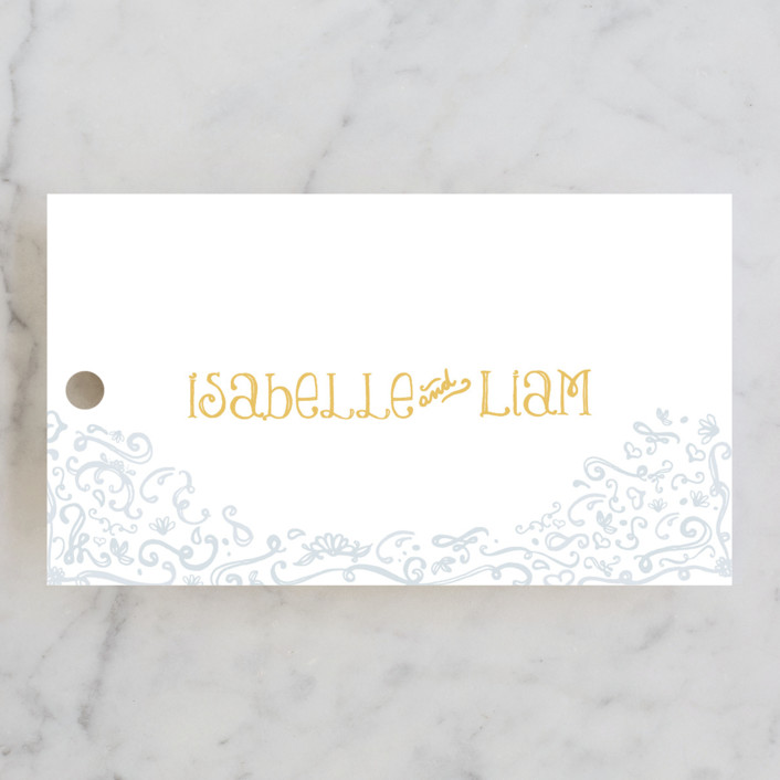 """""""Once Upon"""" - Bold typographic, Hand Drawn Wedding Favor Tags in Sunflower by Erin Pescetto."""