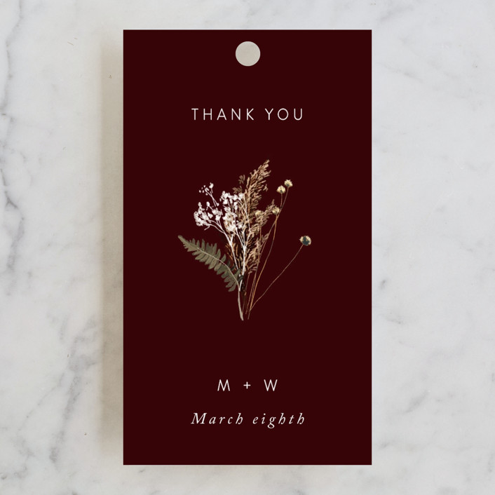 """""""dried foliage"""" - Rustic Wedding Favor Tags in Burgundy by Cass Loh."""
