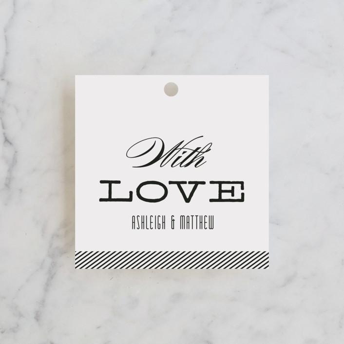 """Twine"" - Elegant, Formal Wedding Favor Tags in Black by Lauren Chism."