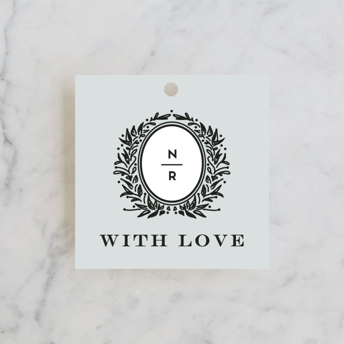"""Endure"" - Monogrammed, Vintage Wedding Favor Tags in Ocean Mist by Jennifer Postorino."