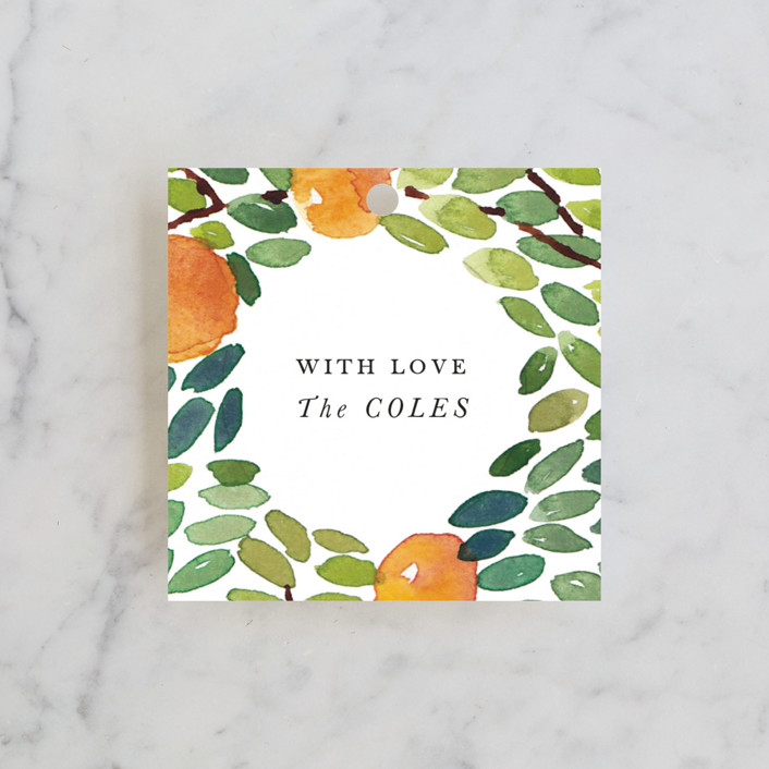 """Orangerie"" - Preppy, Floral & Botanical Wedding Favor Tags in Tangerine by Haley Mistler."