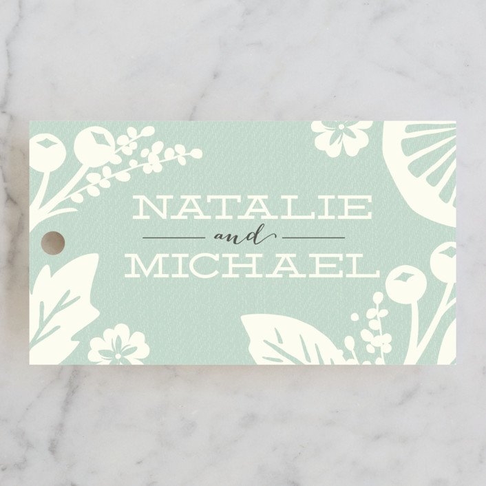 """Floral Silhouette"" - Floral & Botanical Wedding Favor Tags in Sea Glass by Griffinbell Paper Co.."