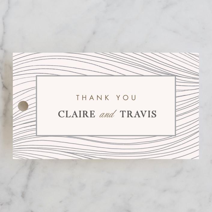 """Flowing Stripes"" - Modern Wedding Favor Tags in Pebble by Monika Drachal."
