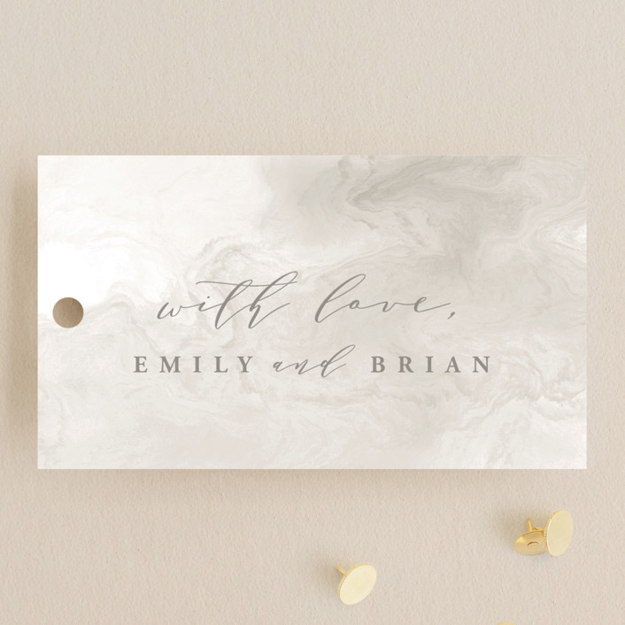 """""""Rose Box"""" - Wedding Favor Tags in Warm Gray by Melinda Denison."""