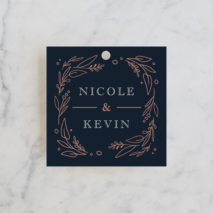 """Entwined"" - Wedding Favor Tags in Navy by Kristen Smith."